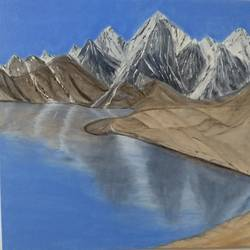 snowy mountains, 24 x 18 inch, urvashi verma,24x18inch,canvas,paintings,landscape paintings,nature paintings | scenery paintings,realistic paintings,paintings for dining room,paintings for living room,paintings for bedroom,paintings for office,paintings for hotel,oil color,GAL01503930024