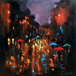 rainy day 10, 18 x 18 inch, arjun das,18x18inch,canvas,paintings,abstract paintings,cityscape paintings,street art,paintings for dining room,paintings for living room,paintings for bedroom,paintings for office,paintings for hotel,paintings for school,paintings for hospital,acrylic color,GAL011230025