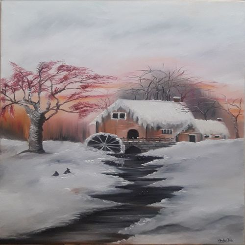 snowy weather , 20 x 30 inch, umme  habiba ,20x30inch,canvas,paintings,landscape paintings,oil color,GAL01859130027