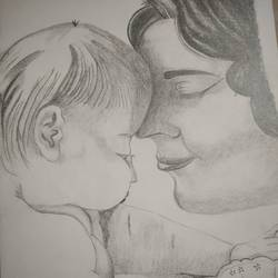 every mother has a master piece, 12 x 17 inch, shilpa jain,12x17inch,thick paper,drawings,photorealism drawings,graphite pencil,GAL01850730031