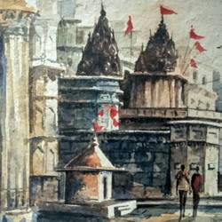 varanasi ghat - darbhanga ghat, 11 x 7 inch, girish chandra vidyaratna,11x7inch,paper,paintings,religious paintings,paintings for living room,watercolor,GAL03630033