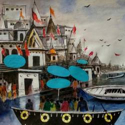 varanasi ghat, 11 x 7 inch, girish chandra vidyaratna,11x7inch,paper,paintings,religious paintings,paintings for living room,mixed media,GAL03630034