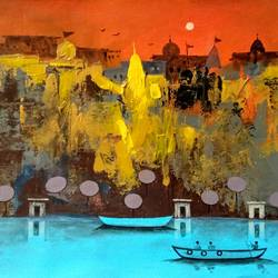 abstract varanasi ghat, 11 x 7 inch, girish chandra vidyaratna,11x7inch,paper,paintings,religious paintings,paintings for living room,acrylic color,GAL03630035