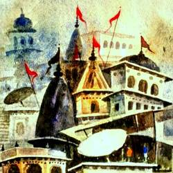 varanasi ghat 5, 11 x 7 inch, girish chandra vidyaratna,landscape paintings,paintings for bedroom,handmade paper,watercolor,11x7inch,GAL0363005