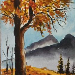 autumn tree, 8 x 11 inch, shankhadeep  mondal,8x11inch,handmade paper,paintings,landscape paintings,paintings for dining room,paintings for living room,paintings for bedroom,paintings for office,paintings for kids room,paintings for hotel,paintings for kitchen,paintings for school,paintings for hospital,watercolor,GAL01403030059