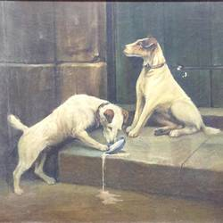 dogs, 26 x 18 inch, balbir art  gallery,26x18inch,canvas,paintings,animal paintings,dog painting,paintings for living room,paintings for bedroom,paintings for office,paintings for hotel,oil color,GAL01076530064