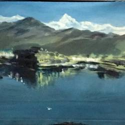 kashmir, 18 x 12 inch, balbir art  gallery,18x12inch,canvas,paintings,landscape paintings,nature paintings | scenery paintings,paintings for dining room,paintings for living room,paintings for bedroom,paintings for office,paintings for hotel,oil color,GAL01076530066