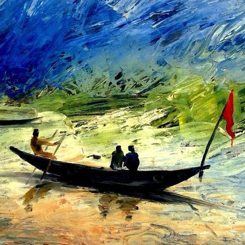 journey by boat, 7 x 11 inch, girish chandra vidyaratna,landscape paintings,paintings for bedroom,renaissance watercolor paper,oil,7x11inch,GAL0363007