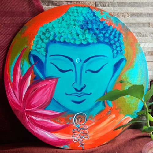 buddha_one who is awake i, 16 x 16 inch, shivani  singhal ,16x16inch,canvas,paintings,buddha paintings,religious paintings,paintings for dining room,paintings for living room,paintings for office,paintings for hotel,acrylic color,GAL01858530074