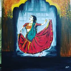 dancing lady , 20 x 24 inch, nibha jain,20x24inch,canvas,paintings,figurative paintings,portrait paintings,impressionist paintings,paintings for living room,paintings for bedroom,acrylic color,GAL01092530085