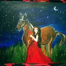 a beautiful lady with a horse, 20 x 16 inch, nibha jain,20x16inch,canvas,paintings,figurative paintings,landscape paintings,portrait paintings,horse paintings,paintings for living room,paintings for bedroom,paintings for hotel,paintings for living room,paintings for bedroom,paintings for hotel,acrylic color,GAL01092530088