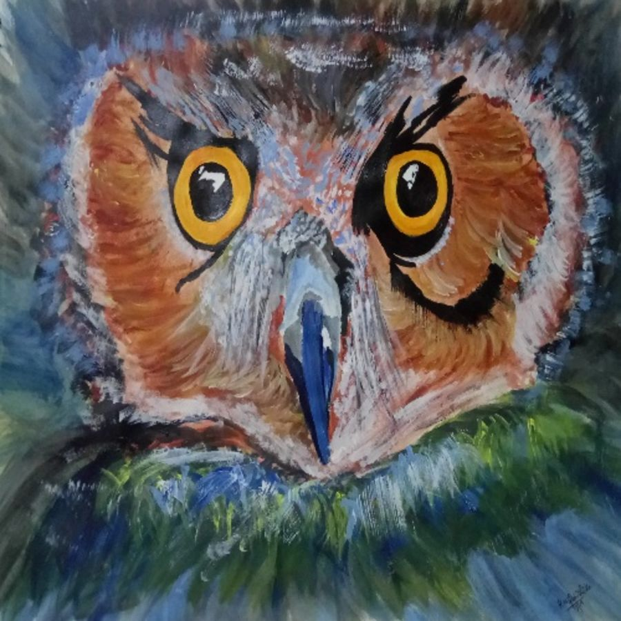 owl, hoot, wildlife, nocturnal, birdie, 15 x 11 inch, abhishika kn,15x11inch,drawing paper,paintings,wildlife paintings,modern art paintings,abstract expressionism paintings,animal paintings,contemporary paintings,paintings for dining room,paintings for living room,paintings for bedroom,paintings for office,paintings for hotel,paintings for school,acrylic color,paper,GAL01821230098