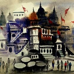 varanasi ghat 7, 11 x 7 inch, girish chandra vidyaratna,landscape paintings,paintings for bedroom,horizontal,renaissance watercolor paper,watercolor,11x7inch,GAL0363010
