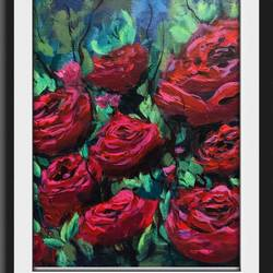 red blooms, 14 x 14 inch, priti bara,14x14inch,canvas,paintings,abstract paintings,flower paintings,acrylic color,GAL01081230102