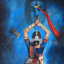 odissi dancer a devotee of lord shiva, 24 x 36 inch, rijoy  emmanuel,24x36inch,canvas,figurative paintings,religious paintings,portrait paintings,photorealism paintings,ganesha paintings | lord ganesh paintings,lord shiva paintings,paintings for dining room,paintings for living room,paintings for bedroom,paintings for dining room,paintings for living room,paintings for bedroom,oil color,GAL0643130103