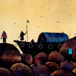 the indian fishermen, 14 x 11 inch, girish chandra vidyaratna,landscape paintings,paintings,paintings for bedroom,handmade paper,watercolor,14x11inch,GAL0363011