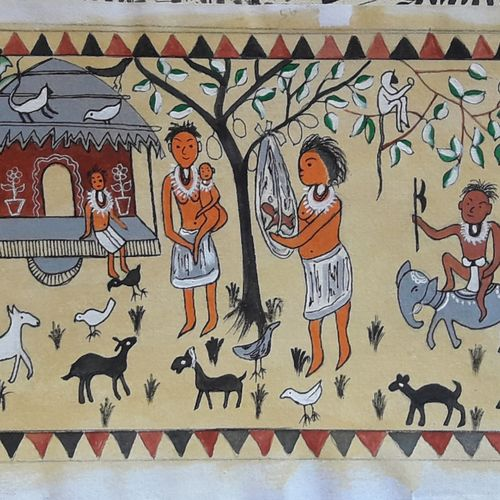 folk painting, 22 x 7 inch, biswarup maiti,22x7inch,fabriano sheet,folk art paintings,paintings for living room,paintings for office,paintings for hotel,paintings for school,paintings for hospital,paintings for living room,paintings for office,paintings for hotel,paintings for school,paintings for hospital,acrylic color,GAL01670630112