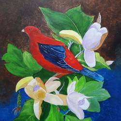 bird on floral bunch, 18 x 25 inch, indhuja raghavan,flower paintings,paintings for bedroom,canvas,acrylic color,18x25inch,GAL01103012