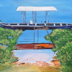 boat at the shore - kerela , 16 x 21 inch, indhuja raghavan,landscape paintings,paintings for living room,canvas,acrylic color,16x21inch,GAL01103013