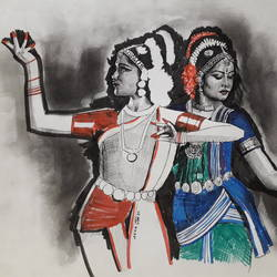 indian classical dancers, 9 x 12 inch, arka sen,9x12inch,drawing paper,drawings,figurative drawings,fine art drawings,illustration drawings,portrait drawings,ink color,pen color,graphite pencil,GAL01864230131