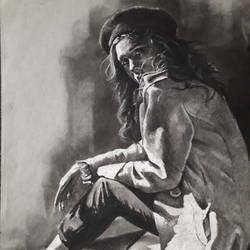 in shadow, 9 x 12 inch, arka sen,9x12inch,drawing paper,drawings,figurative drawings,fine art drawings,charcoal,pen color,GAL01864230132