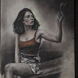 the girl, 9 x 12 inch, arka sen,9x12inch,drawing paper,drawings,figurative drawings,fine art drawings,portrait drawings,charcoal,pencil color,GAL01864230133