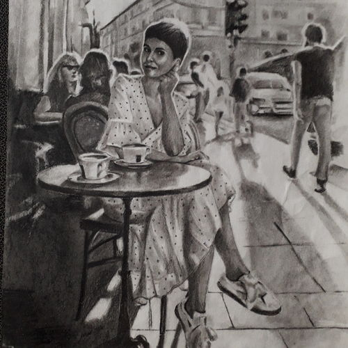 an afternoon coffee, 9 x 12 inch, arka sen,9x12inch,drawing paper,drawings,figurative drawings,portrait drawings,charcoal,GAL01864230134