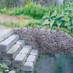 pond, 16 x 11 inch, siva raja,16x11inch,paper,landscape paintings,nature paintings | scenery paintings,paintings for dining room,paintings for living room,paintings for bedroom,paintings for office,paintings for dining room,paintings for living room,paintings for bedroom,paintings for office,watercolor,paper,GAL01840230138