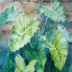 leaves, 5 x 8 inch, siva raja,5x8inch,paper,paintings,nature paintings | scenery paintings,paintings for dining room,paintings for living room,paintings for bedroom,paintings for office,paintings for hotel,paintings for hospital,watercolor,paper,GAL01840230140