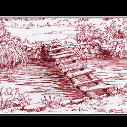 wooden bridge, 8 x 5 inch, siva raja,8x5inch,paper,drawings,paintings for dining room,paintings for living room,paintings for bedroom,paintings for office,paintings for hotel,paintings for hospital,figurative drawings,fine art drawings,paintings for dining room,paintings for living room,paintings for bedroom,paintings for office,paintings for hotel,paintings for hospital,pen color,paper,GAL01840230144