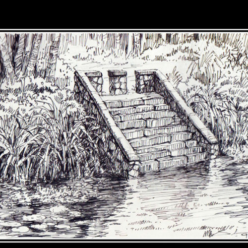 pond, 8 x 5 inch, siva raja,8x5inch,paper,drawings,figurative drawings,folk drawings,illustration drawings,paintings for dining room,paintings for living room,paintings for bedroom,paintings for office,paintings for hotel,paintings for hospital,pen color,paper,GAL01840230148