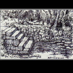 pond, 8 x 5 inch, siva raja,8x5inch,paper,drawings,figurative drawings,fine art drawings,folk drawings,paintings for dining room,paintings for living room,paintings for bedroom,paintings for office,paintings for hotel,pen color,paper,GAL01840230150