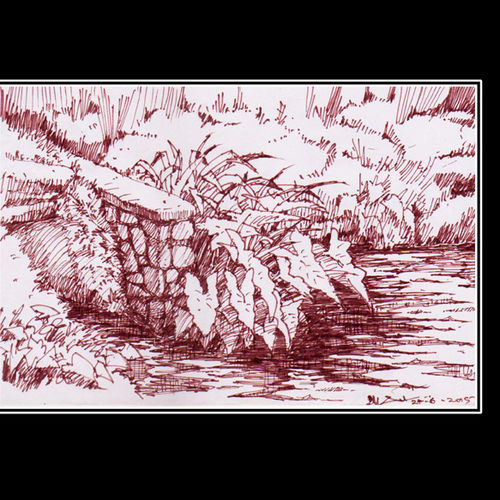 pond, 8 x 5 inch, siva raja,8x5inch,paper,drawings,figurative drawings,fine art drawings,folk drawings,paintings for dining room,paintings for living room,paintings for bedroom,paintings for office,paintings for hotel,pen color,paper,GAL01840230151
