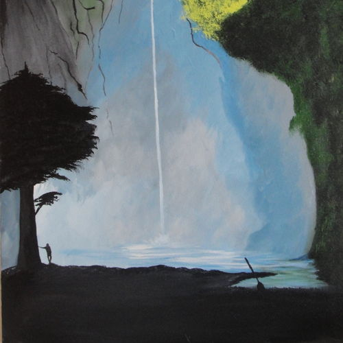 nature - waterfall view, 18 x 30 inch, indhuja raghavan,landscape paintings,paintings for bedroom,canvas board,acrylic color,18x30inch,GAL01103016