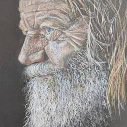old man , 10 x 14 inch, souraditya gangopadhyay,10x14inch,thick paper,drawings,figurative drawings,pencil color,GAL01832430163