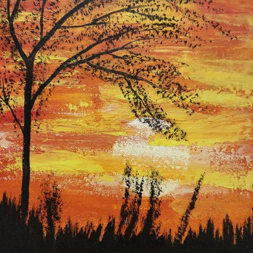 sunset, 8 x 10 inch, gitika singh,8x10inch,canvas,paintings,landscape paintings,nature paintings | scenery paintings,acrylic color,GAL01865430173