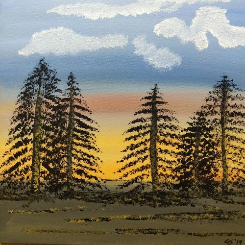 sunset, 12 x 12 inch, gitika singh,12x12inch,canvas board,paintings,landscape paintings,nature paintings | scenery paintings,acrylic color,GAL01865430175