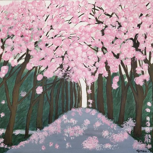 cherry blossom trees, 18 x 20 inch, gitika singh,18x20inch,canvas board,paintings,flower paintings,landscape paintings,nature paintings | scenery paintings,acrylic color,GAL01865430180
