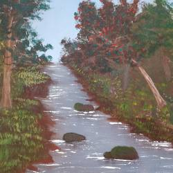 multi-coloured trees, 12 x 12 inch, gitika singh,12x12inch,canvas board,paintings,abstract paintings,landscape paintings,nature paintings | scenery paintings,acrylic color,GAL01865430181