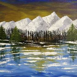 snow mountains, 20 x 18 inch, gitika singh,20x18inch,canvas board,paintings,landscape paintings,nature paintings | scenery paintings,acrylic color,GAL01865430187