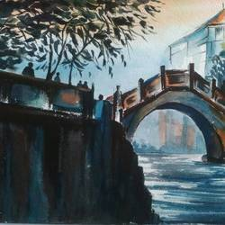 bridge, 11 x 8 inch, shankhadeep  mondal,11x8inch,handmade paper,paintings,landscape paintings,paintings for dining room,paintings for living room,paintings for bedroom,paintings for office,paintings for kids room,paintings for hotel,paintings for kitchen,paintings for school,paintings for hospital,watercolor,GAL01403030190
