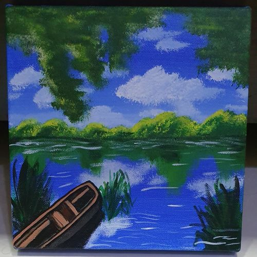 view of a lake , 8 x 8 inch, siddhi  shah,8x8inch,canvas,paintings,landscape paintings,nature paintings   scenery paintings,paintings for living room,acrylic color,GAL01867030197