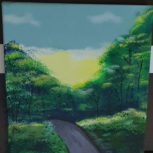 amidst the forest, 10 x 14 inch, siddhi  shah,10x14inch,canvas,paintings,landscape paintings,nature paintings | scenery paintings,paintings for living room,paintings for office,acrylic color,GAL01867030198