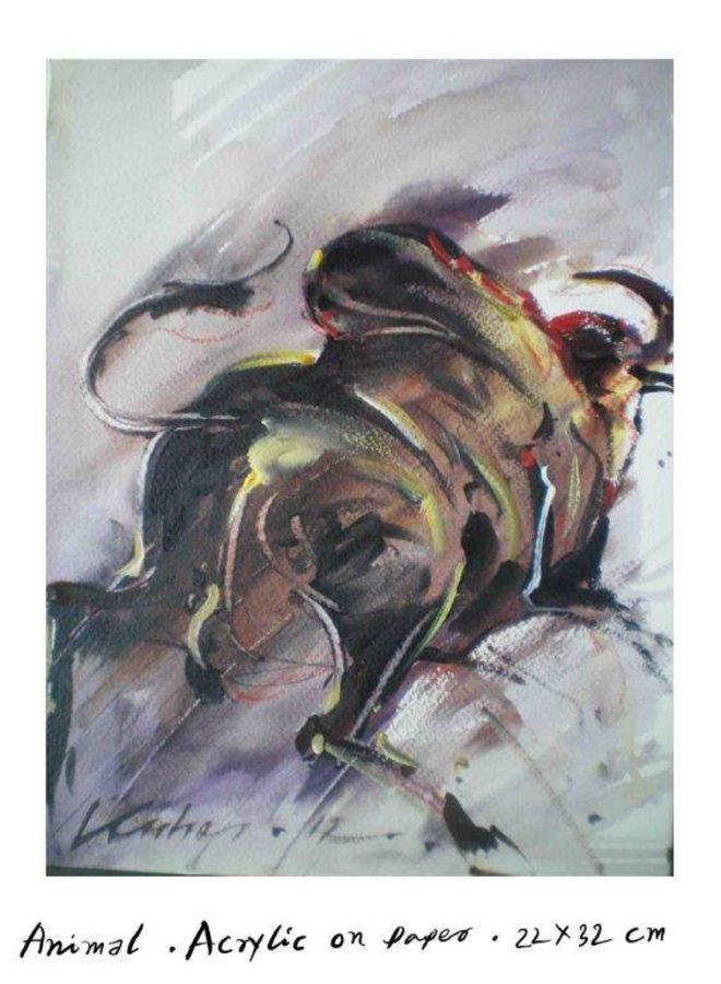 back of bull, 14 x 12 inch, kishore ghosh,wildlife paintings,paintings for living room,fabriano sheet,acrylic color,14x12inch,GAL0124302