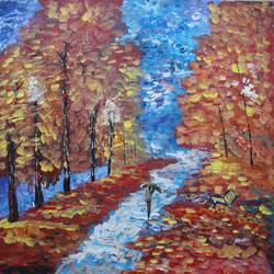 contemporary art - pathway, 24 x 24 inch, indhuja raghavan,paintings for bedroom,nature paintings,contemporary paintings,canvas board,acrylic color,24x24inch,GAL01103020Nature,environment,Beauty,scenery,greenery