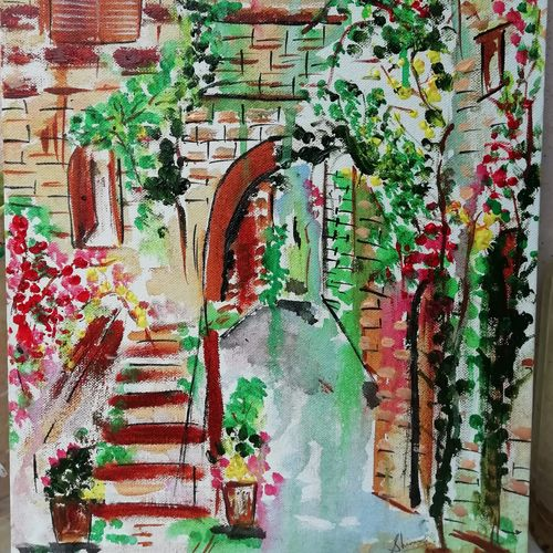 french street, 12 x 18 inch, shinam bedi,12x18inch,canvas,paintings,nature paintings | scenery paintings,paintings for dining room,paintings for living room,paintings for bedroom,paintings for office,paintings for hotel,acrylic color,GAL01863230200