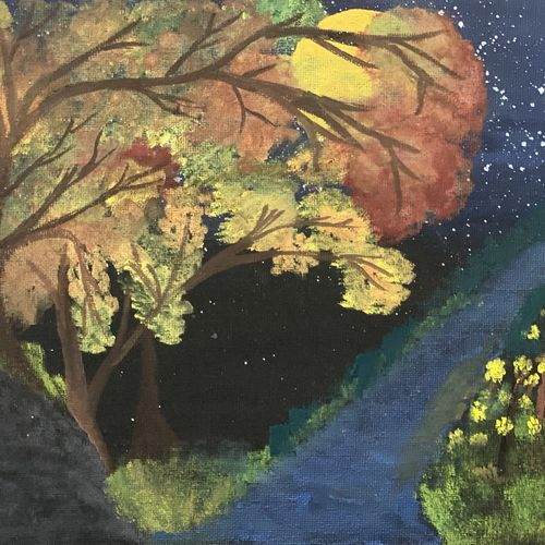 trees at night , 8 x 10 inch, apoorva  gurumurthy,8x10inch,canvas,landscape paintings,nature paintings | scenery paintings,acrylic color,GAL01867330202