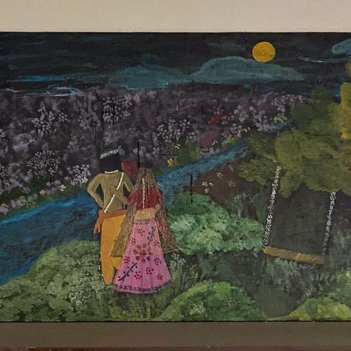 radha krishna , 65 x 35 inch, apoorva  gurumurthy,65x35inch,hardboard,radha krishna paintings,paintings for dining room,paintings for dining room,acrylic color,natural color,GAL01867330206