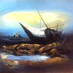 boat, 36 x 27 inch, balbir art  gallery,36x27inch,canvas,paintings,landscape paintings,nature paintings | scenery paintings,paintings for dining room,paintings for living room,paintings for bedroom,paintings for office,paintings for bathroom,paintings for hotel,paintings for kitchen,paintings for hospital,oil color,GAL01076530223