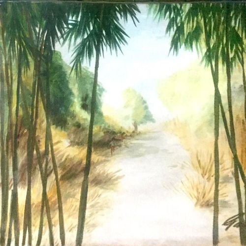 village scene, 38 x 34 inch, balbir art  gallery,38x34inch,canvas,paintings,landscape paintings,paintings for dining room,paintings for living room,paintings for bedroom,paintings for office,paintings for hotel,paintings for hospital,oil color,GAL01076530224